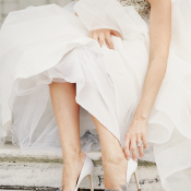 Bride in Swan Manolo Blahnik