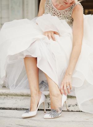 Bride in Swan Manolo Blahnik