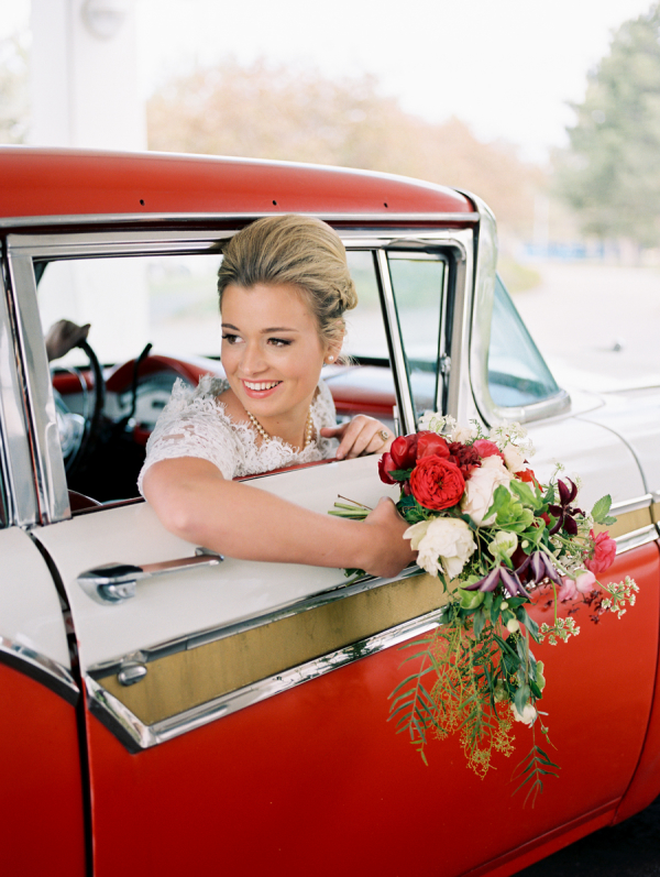Bride in Vintage Red Car