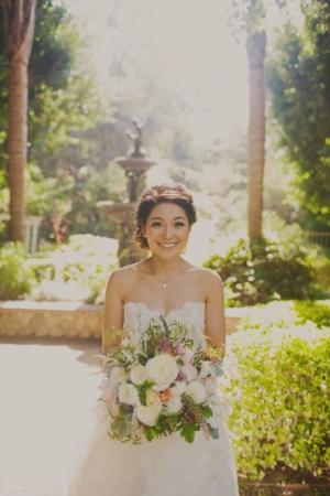 Bride with Pastel Garden Bouquet