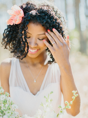 Bride with Simple Hair Flower