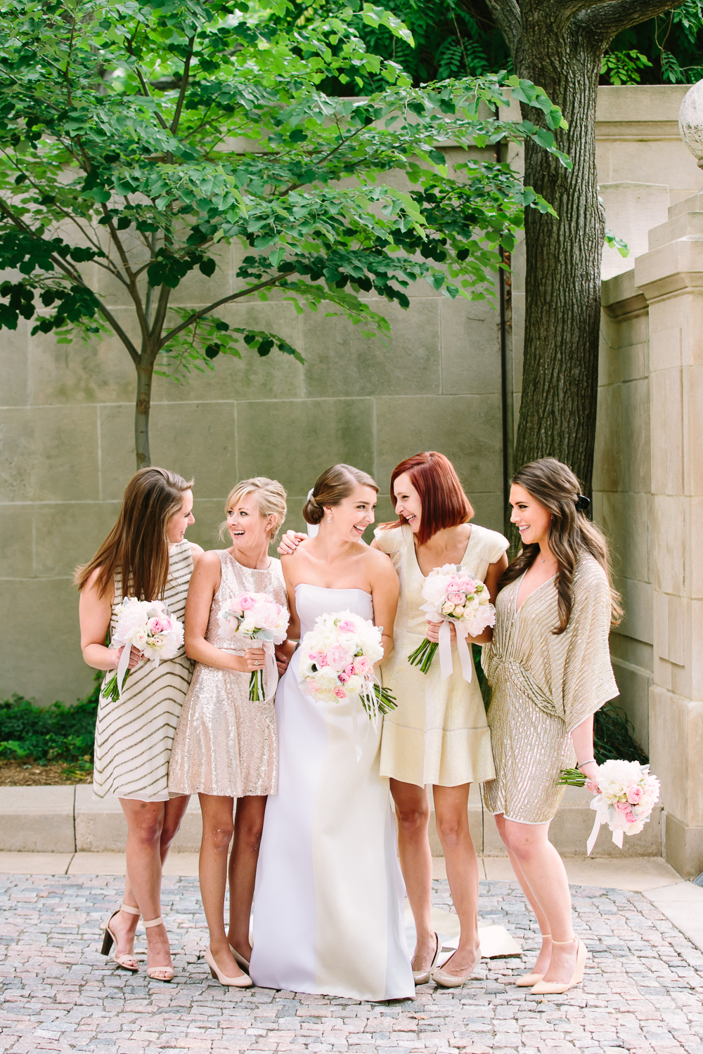 Bridesmaids in Mismatched Gold
