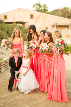 Bridesmaids in Strapless Coral Gowns