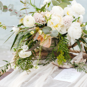 Centerpiece in Ivory and Pale Peach