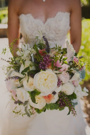 Colorful Bouquet with Ivory Peonies