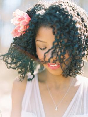 Coral Flower in Hair