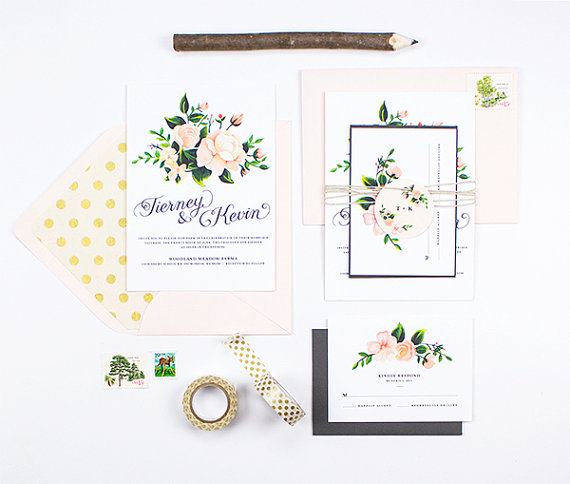 Custom Blush and Slate Wedding Invitation