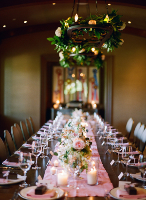 Estate Table with Pink Flowers at Wedding