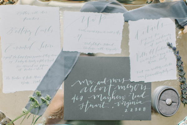 Gray and White Wedding Invitations