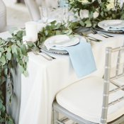 Green Silver and Blue Wedding Table