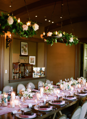 Greenery and Rose Chandeliers