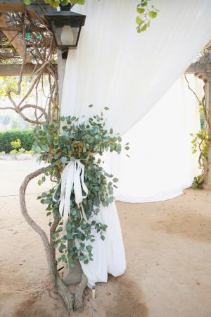 Greenery on Wedding Arbor