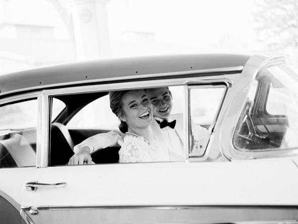 Groom and Bride in Vintage Car