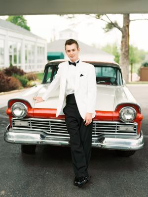 Groom with Vintage Car