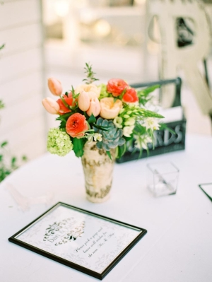 Guest Book Table with Peach Flowers