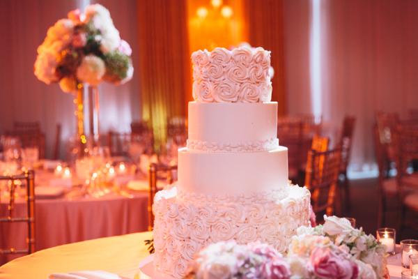Icing Rosettes on Wedding Cake