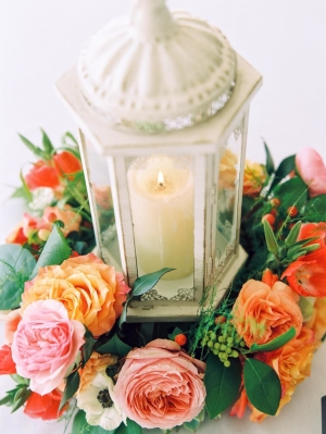 Lantern Centerpiece with Flower Wreath