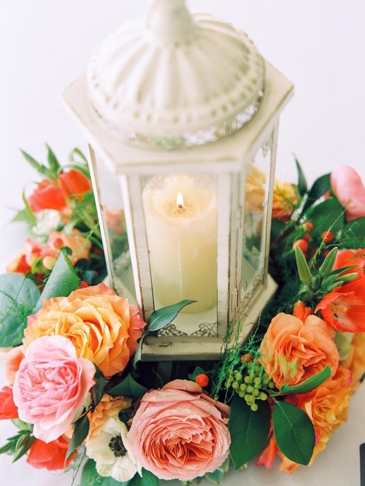 Lantern Centerpiece With Flower Wreath Elizabeth Anne Designs The