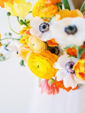 Marigold Ranunculus and Anemone Centerpiece