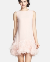 Phoebe Feather Hem Chiffon Shift Dress
