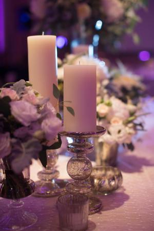 Pillar Candles on Mercury Glass