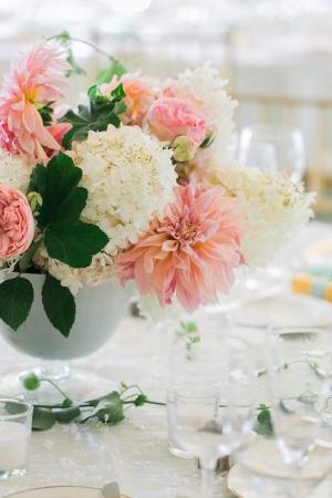 Pink Dahlia and Hydrangea Centerpiece