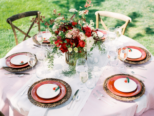 Pink and Red Wedding Centerpiece
