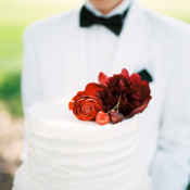 Red Flowers on Wedding Cake
