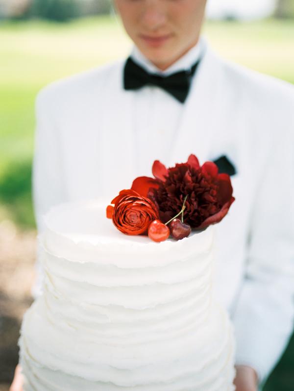 Red Flowers on Wedding Cake