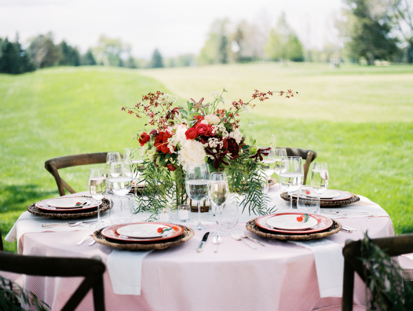 Red Flowers with Pink Table Linen