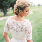 Short Sleeve Lace Wedding Gown
