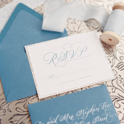 Silver Calligraphy on Blue Stationery