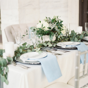 Silver Green and Blue Wedding Centerpiece