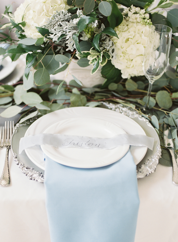 Silver and Blue Place Setting