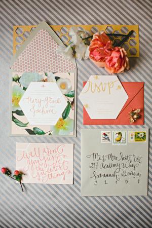 Southern Floral Modern Honey Bee Peach Wedding Invitation