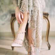 Valentina Rockstud pumps Gold Marchesa Gown