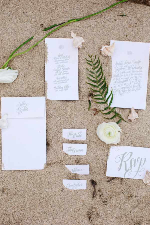 Wedding Invitations in White and Gray