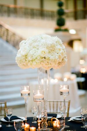 White Hydrangea and Rose Centerpiece