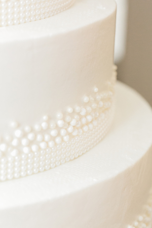 White Wedding Cake with Icing Pearls