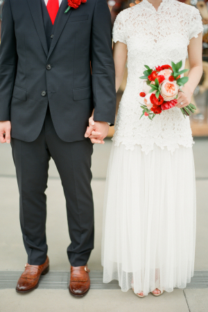 Bride and Groom with Red Details