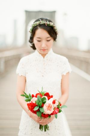 Bride in DIY Wedding Dress
