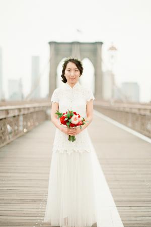 Bride on Brooklyn Bridge