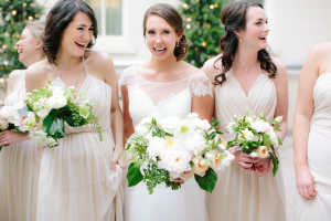 Bridesmaids in Ivory Dresses