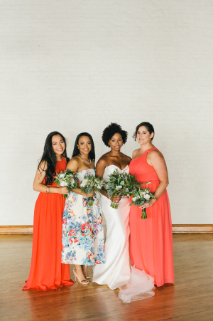 Bridesmaids in Red and Blue