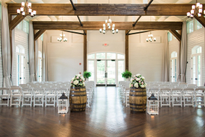 Ceremony Decor with Wine Barrels