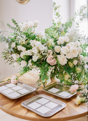 Escort Cards Table with Gorgeous Flowers