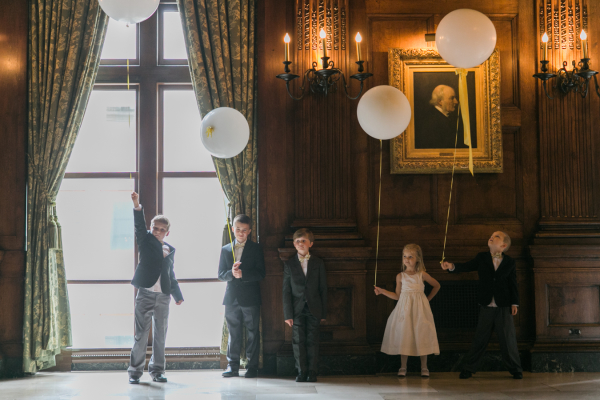 Flower Girls and Ring Bearers with Balloons