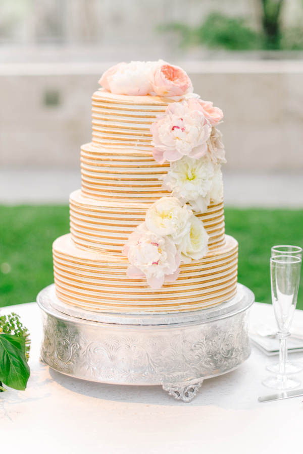 Gold Stripe Wedding Cake