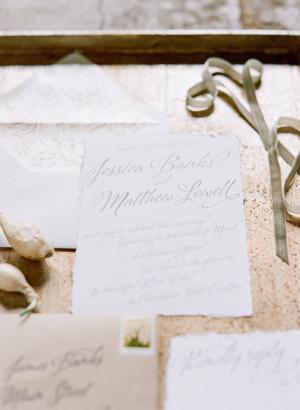 Gray and Ivory Wedding Invitations