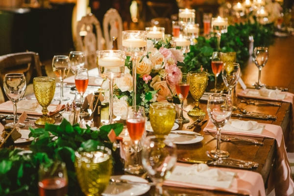 Green Pink and Amber Centerpiece